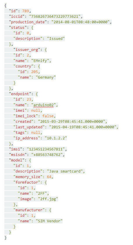 API Retrieval of SIM details