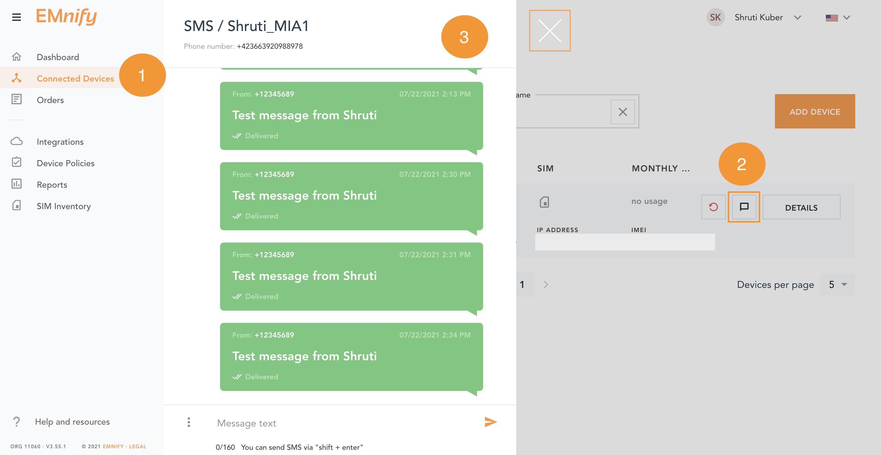 Check SMS in portal