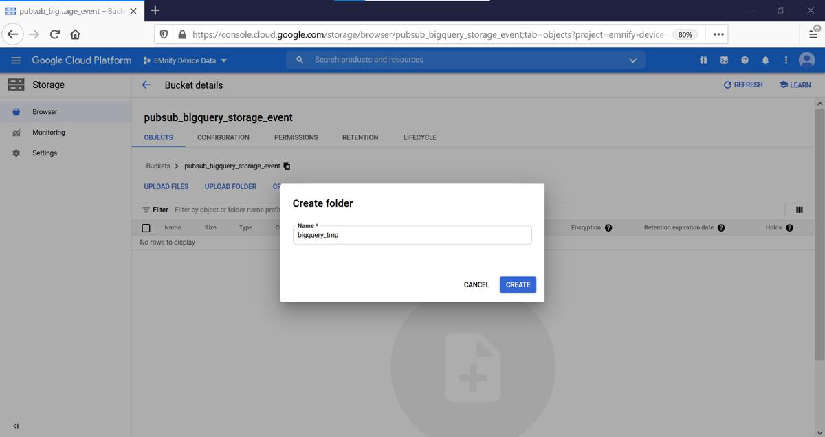 create folder event